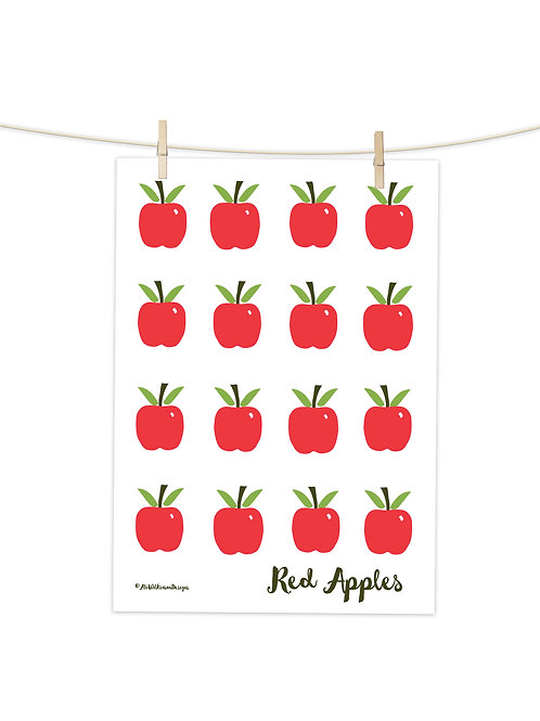Red Apples - Tea Towel (Placement Print)
