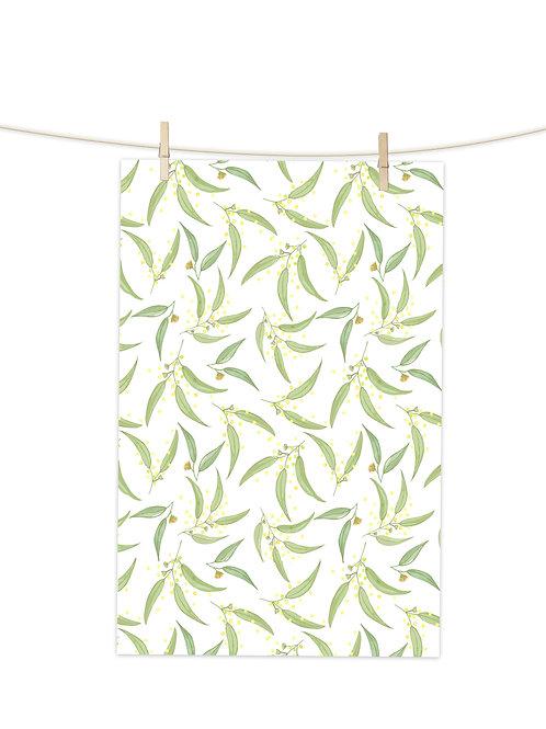 Wattle on White - Tea Towel (Repeat Pattern)