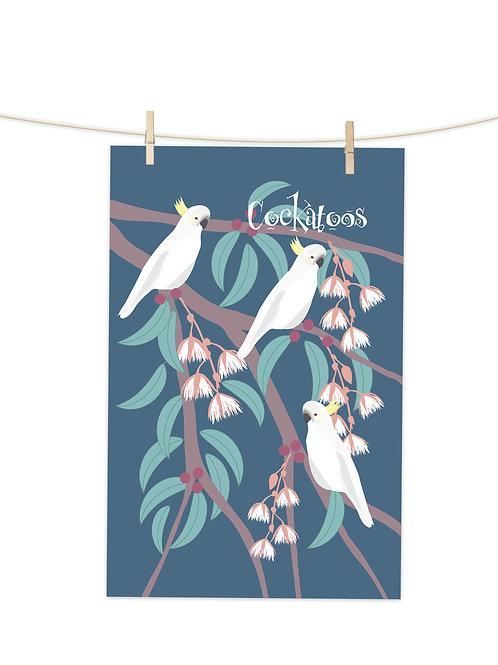 Cockatoos - Tea Towel (Placement Print)