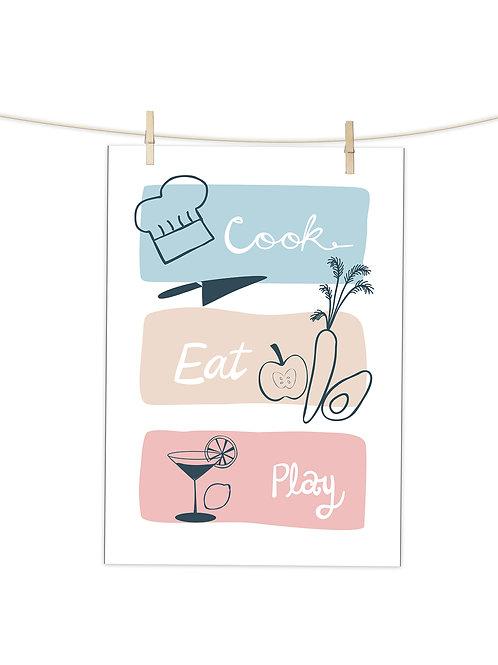 Cook Eat Play - Tea Towel (Placement Print)