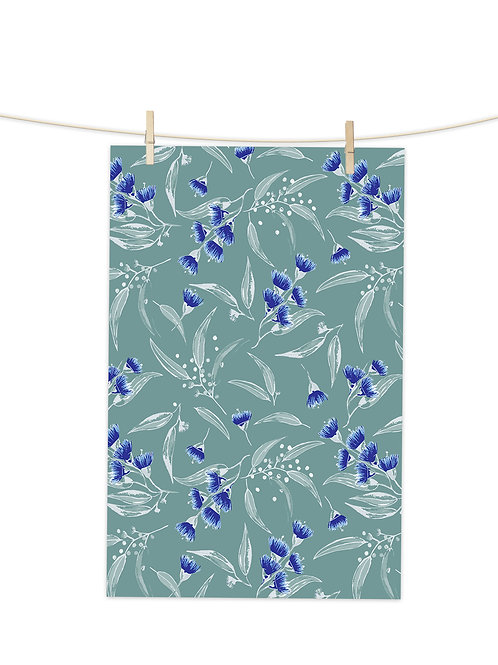Gum Blossoms - Blue Blossoms on Gumforest Green - Tea Towel (Repeat Pattern)