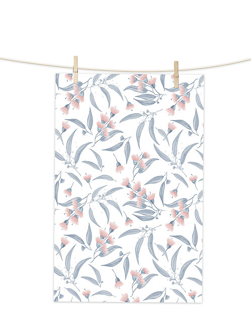 Gum Blossoms - Pink and Blue on White - Tea Towel (Repeat Pattern)