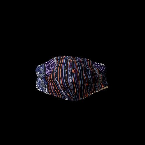 Face Mask -Aboriginal Design Orange, Purple, Black