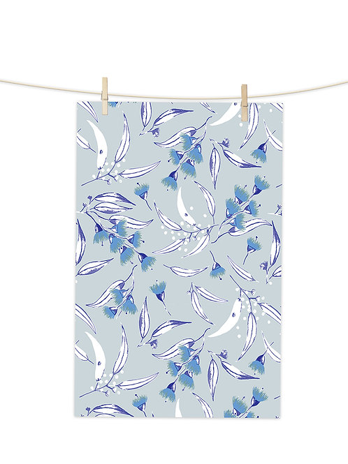 Gum Blossoms - Blue on Morning Mist - Tea Towel (Repeat Pattern)