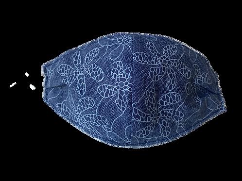 Face Mask - Flower - Blue Denim