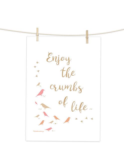Crumbs of Life (Pink) - Tea Towel (Placement Print)