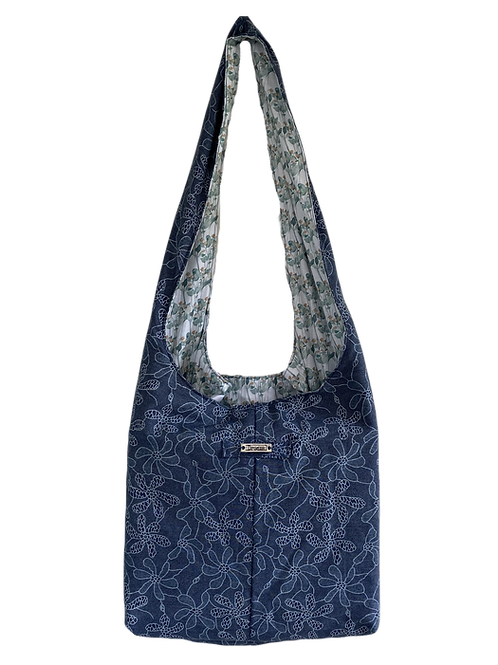 Boho Bag - Lined with Green Flower fabric