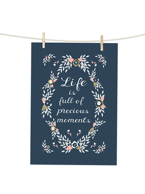 Life is Full Of Precious Moments (Navy) - Tea Towel (Placement Print)