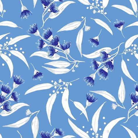 Gum Blossoms - Sky Blue with Silver Leav