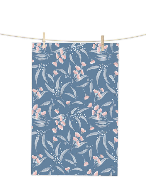Gum Blossoms - Pink and Blue on Blue - Tea Towel (Repeat Pattern)