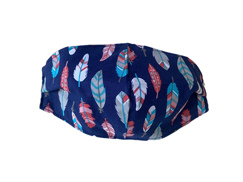 Face Mask - Feathers - Navy