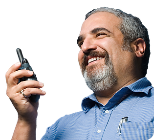 Porter using MyPorter porter task management solution system on two way radio walkie talkie