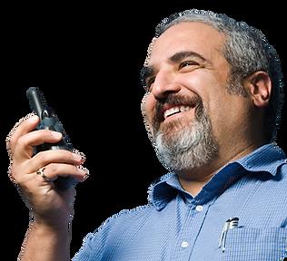 Porter using MyPorter porter task management solution system on two way radio walkie talkie
