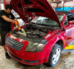 Dominic performing a timing belt and wat