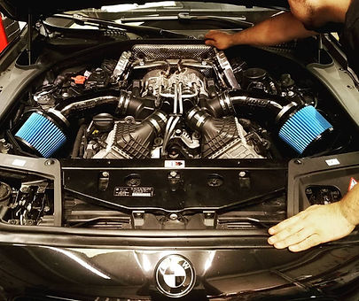 2013 BMW M5 V8 Burger Intake Alpha Downpipe Turbo Install German Autohaus Chattanooga Tennessee Repair Service