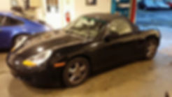 Porsche Boxster 986 at German Autohaus of Chattanooga Tennessee for repair Black Maintenance European Car