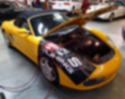2005 Porsche 987 Boxster S Troubleshoot Diagnostics Oil Change Motul 8100 Xcess 5W40 German Autohaus Chattanooga Tennessee Repair Parts Performance Repair Speed Yellow