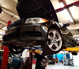 2011 BMW 135i in for downpipe install an