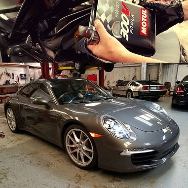 2016 Porsche 911 991 Carrera S Oil Change Motul 300V Power 5W40 Ester German Autohaus of Chattanooga Tennessee Service Maintenance Repair Performance Parts Silver