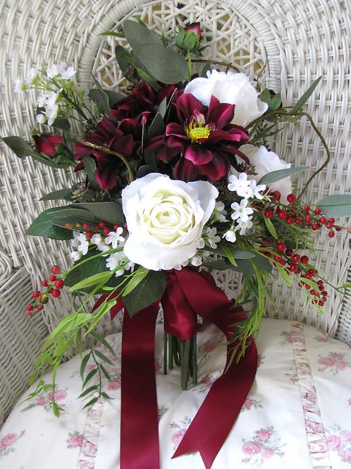 Rose Dahlia Marsala Burgundy Woodland BoHo Hand Tied Silk Wedding Bouquet