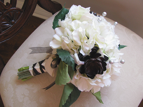 Cream and Black Anemone Hydrangea Succulent Silk Wedding Bouquet