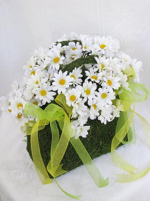 Daisy Silk Moss Purse Flower Girl Wedding Basket