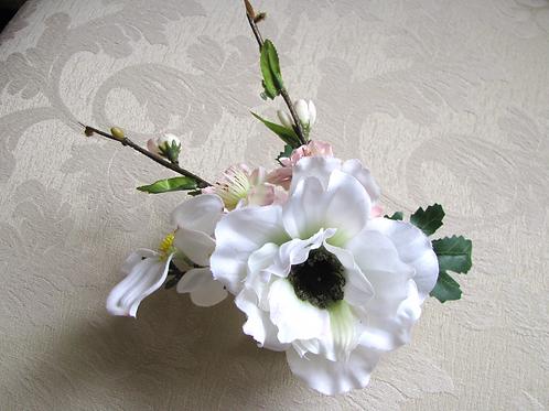 Silk Anemone Cherry Blossom Wrist Corsage on Gold Tone Cuff Bracelet in Corsage