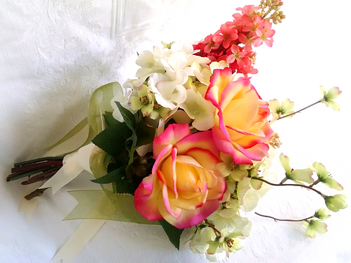 Coral Lilac Yellow and Pink Rose Silk Wedding Bouquet