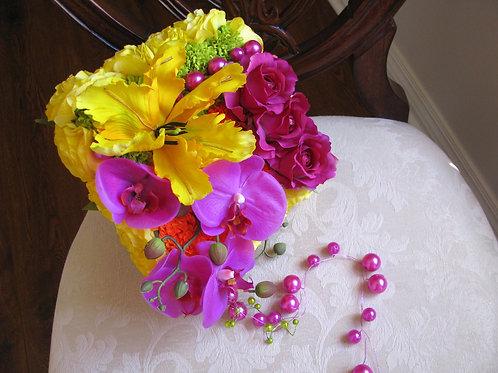 Tropical Pave Silk Wedding Bouquet
