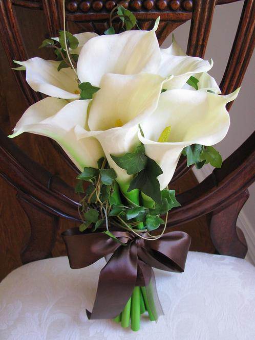 Calla Lily Cream Real Touch Silk Wedding Bouquet