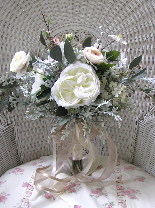 English Garden Rose Lilac Ranunculus Hand Tied Silk Wedding Bouquet