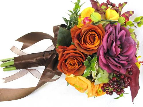 Autumn Colors Burgundy Orange Green Silk Wedding Bouquet