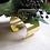 Thumbnail: Silk Dahlia Mum Wrist Corsage on Gold Tone Cuff Bracelet in Corsage Box