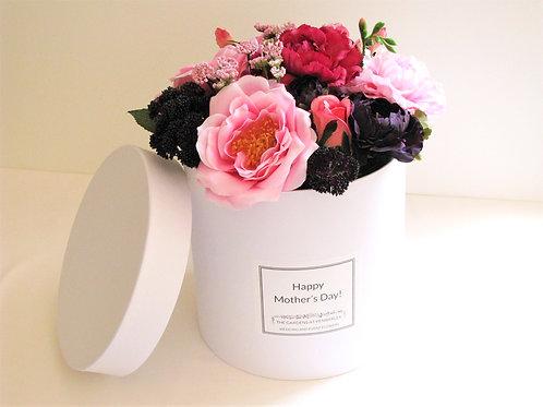 Luxury Box Faux Flowers Hatbox Arrangement Customizable Label