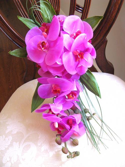 Fuchsia Pink Phalaenopsis Orchid Silk Wedding Bouquet