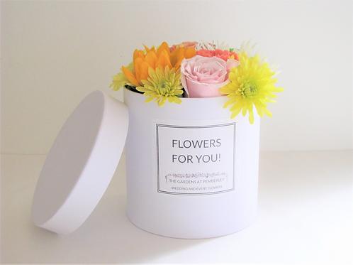 Petite Luxury Box Mixed Flower Bouquet Hatbox Arrangement Customizable Label