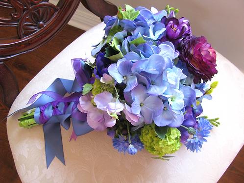 Blue Hydrangea Purple Ranunculus Silk Wedding Bouquet