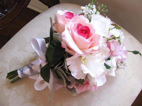 Pink Hydrangea and White Rose Silk Wedding Bouquet