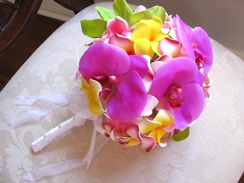 Fuchsia Pink Orchid and Plumeria Silk Wedding Bouquet