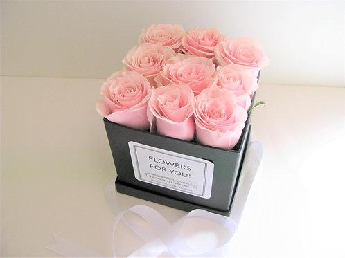 Petite Luxury Box Rose Hatbox Arrangement Customizable Label