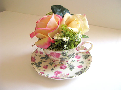 Luxury Box Collectable Teacup Faux Rose Hatbox Design Customizable Label