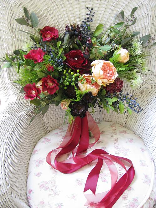 Marsala Rustic Boho Hand Tied Silk Wedding Bouquet