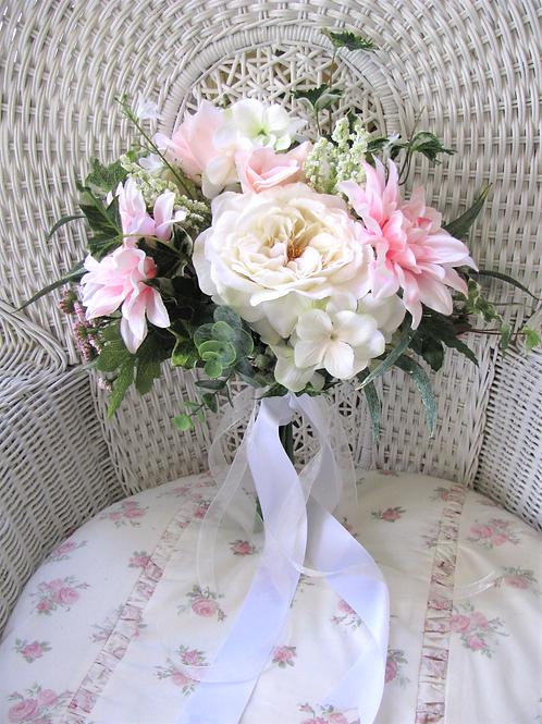 Garden Rose and Dahlia Ivory Pink Hand Tied Silk Wedding Bouquet