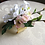 Thumbnail: Silk Anemone Cherry Blossom Wrist Corsage on Gold Tone Cuff Bracelet in Corsage
