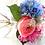 Thumbnail: Blue Hydrangea and Pink Garden Rose Silk Wedding Bouquet