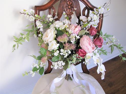 English Rose Ranunculus Hand Tied Silk Wedding Bouquet