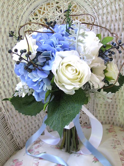 Blue Hydrangea and White Rose Silk Wedding Bouquet