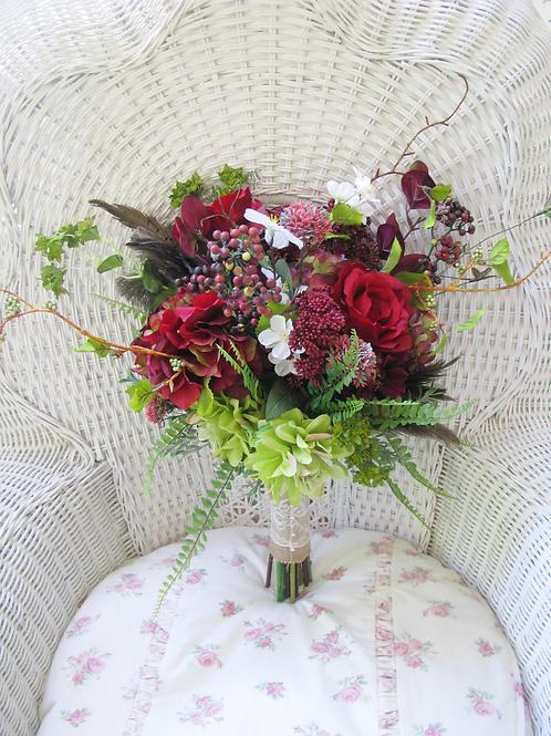 Dahlia Marsala Burgundy Rustic Boho Hand Tied Silk Wedding Bouquet