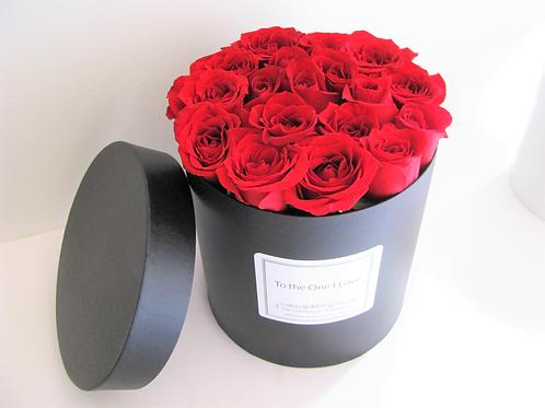 Large Luxury Box Rose Hatbox Arrangement Customizable Label
