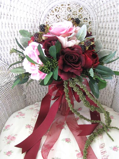 Rose and Dahlia Marsala Burgundy Hand Tied Silk Wedding Bouquet